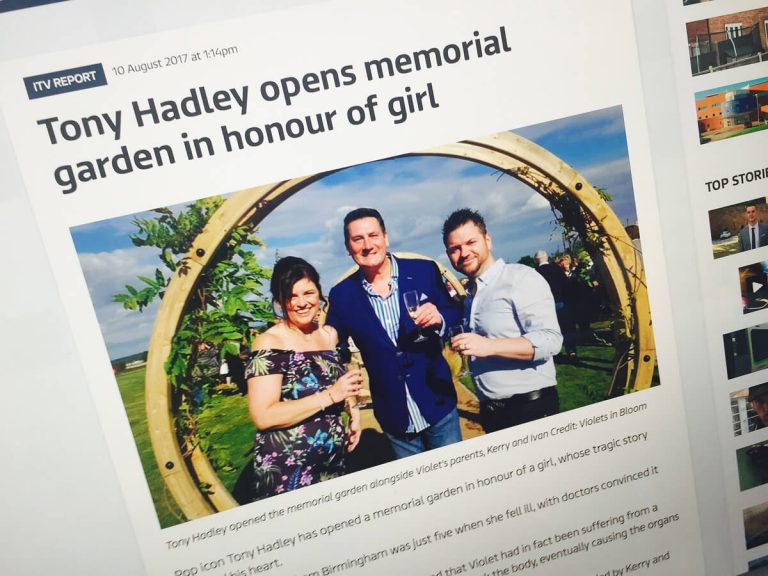 Public Relations Charity Photography, Sensitive Birmingham PR Photographer, PR Photo shoot used in ITV News Hub, Rosie's Remembrance with Tony Hadley
