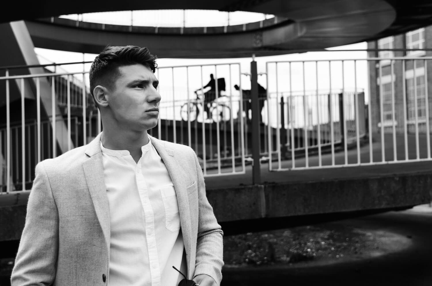 Portfolio photographer for male models. Professional, edgy studio and location photo shoots, vibrant stylish strong photography in cool, urban Birmingham environments
