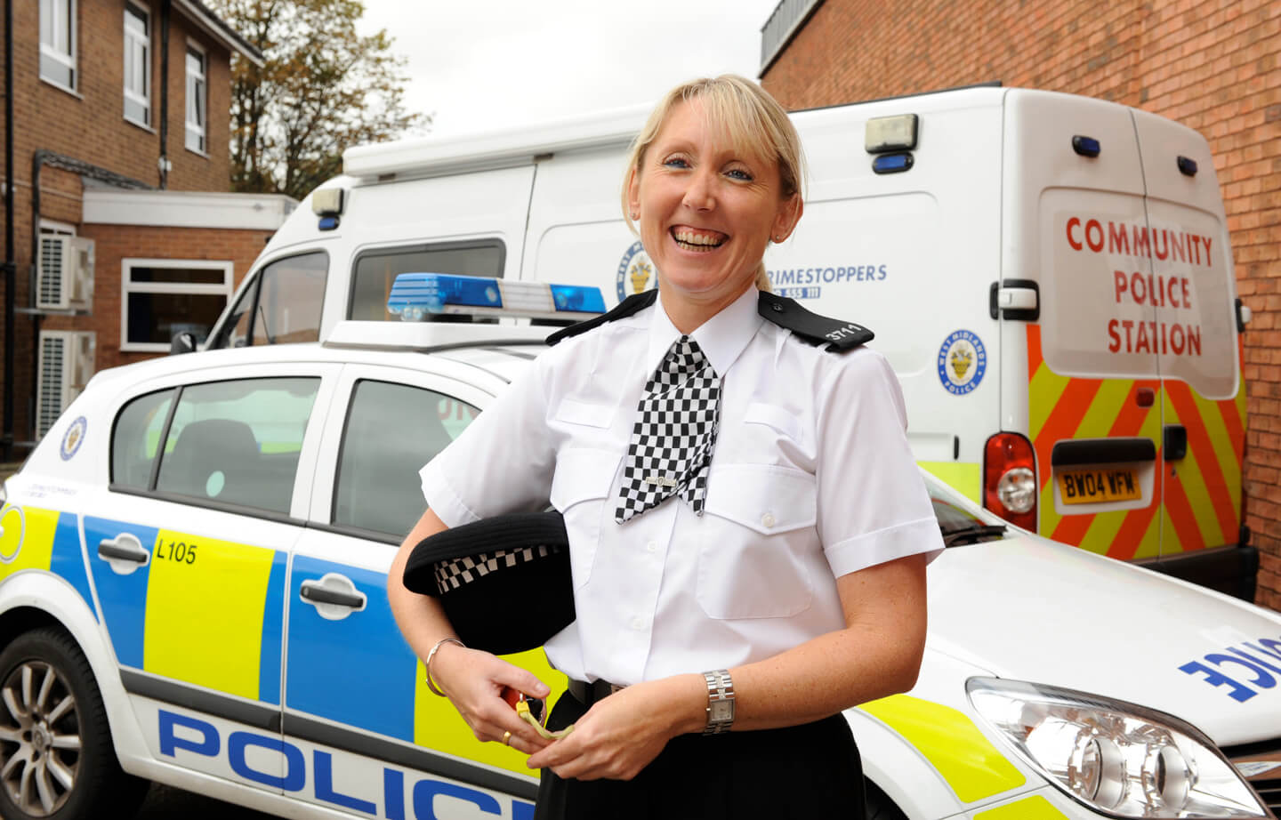 Engaging head shot and portrait photography of police force, Special commission photographer for magazine and newspaper articles, on location in Lichfield, Midlands