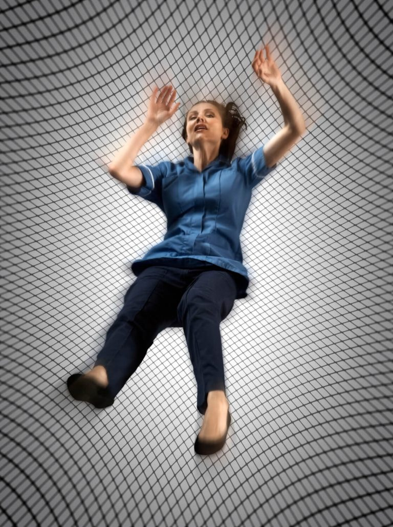 Dramatic studio photography for charity advertising in Bristol, Cavell Nurses - Safety Net