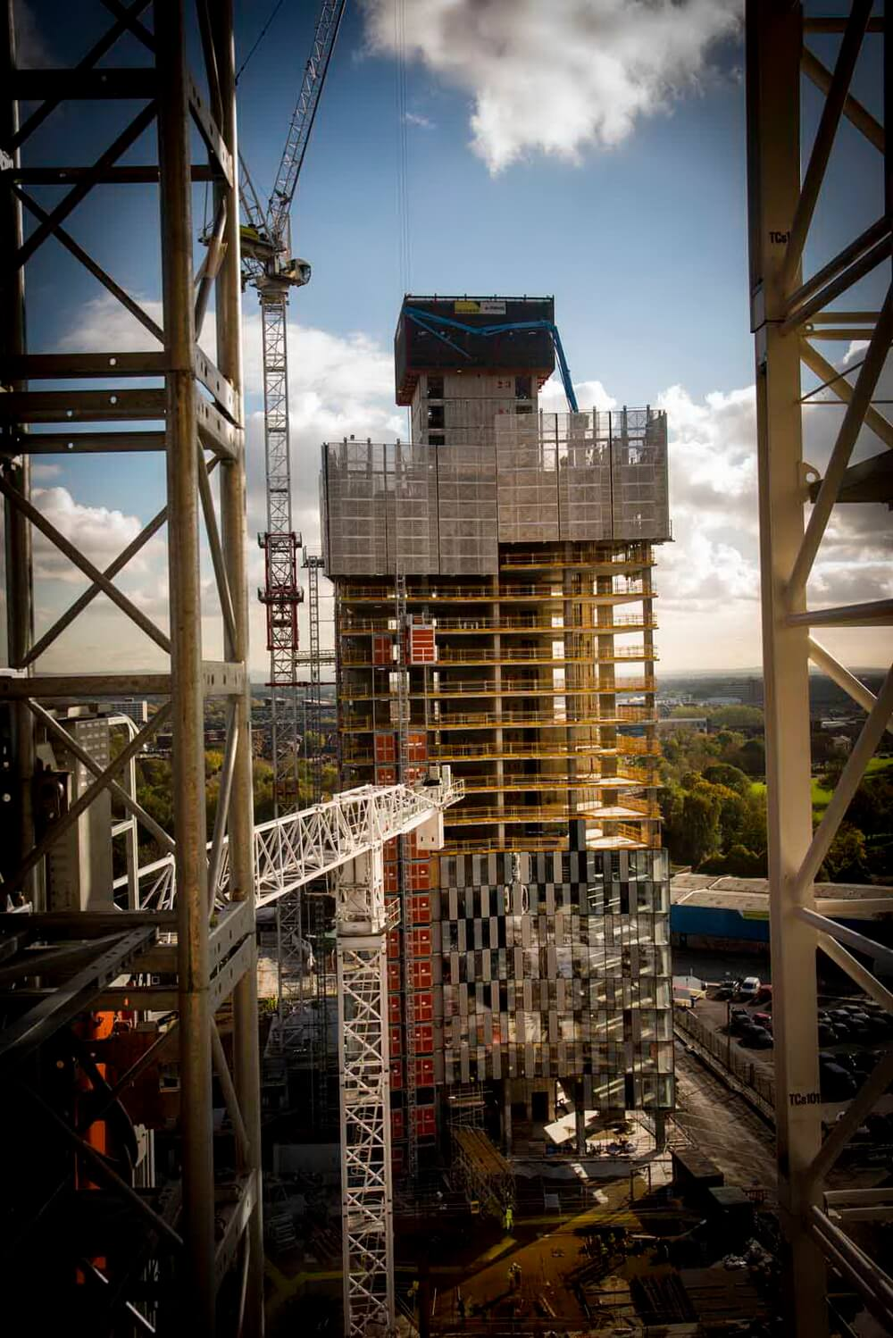 Way up on the 22nd floor - High view of tall construction - Manchester