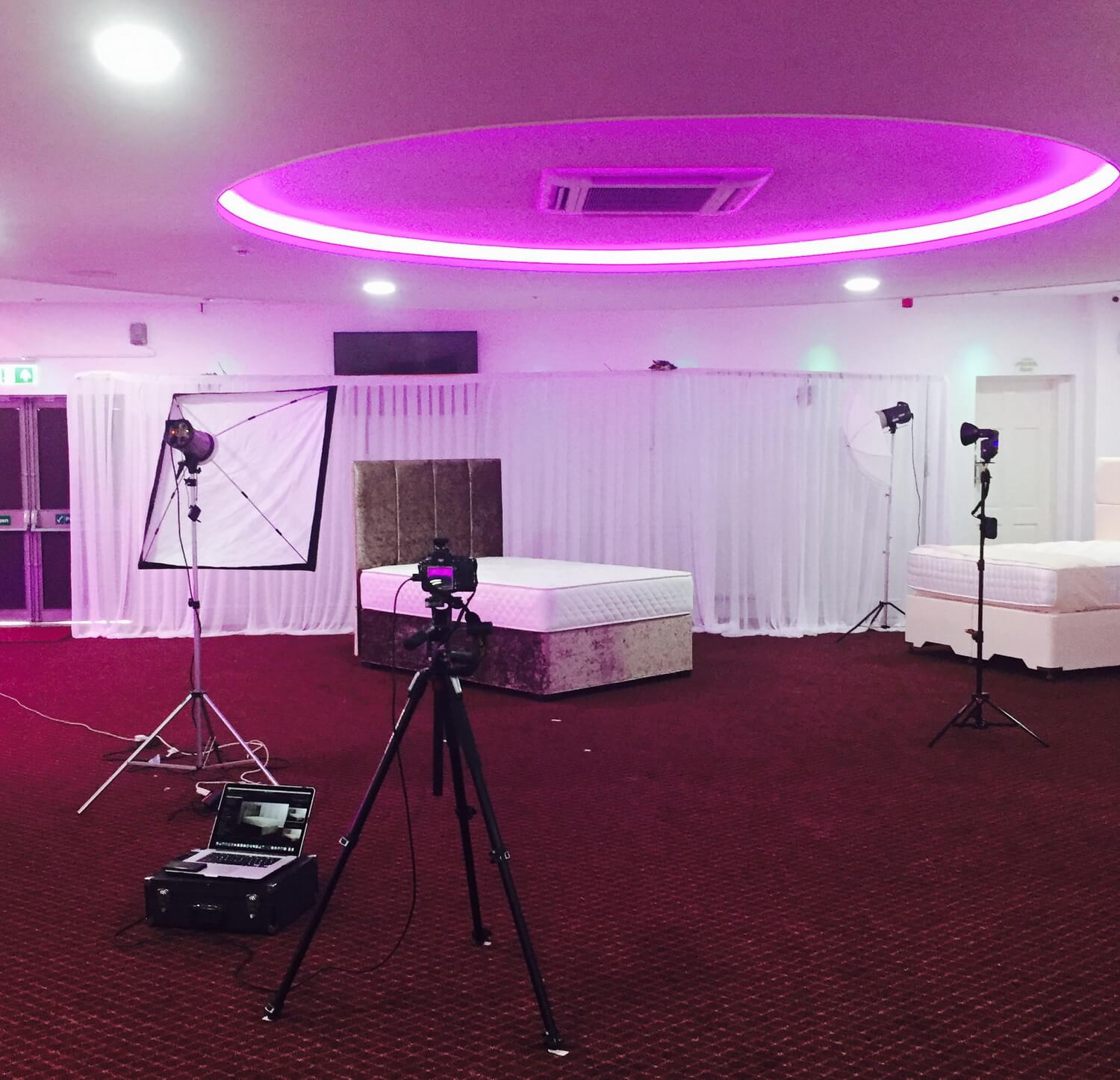 Lighting set up - Beds in Birmingham photographer