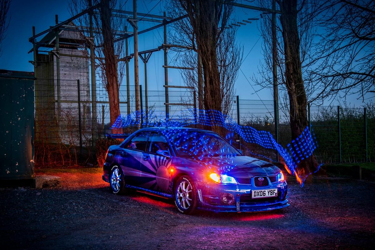Subaru Impreza - Hot Hatch - Car Photography - Automotive Image - Enthusiast Motoring - Dusk Photography Long Exposure Photography - Urban Photography - Light Trails - Powerful Image - Vehicle Photography - Custom Car Photography Automotive Industry - Lighting - Compact Car - Lightning fast - Speciality Vehicle Photography - Show Car Photography.