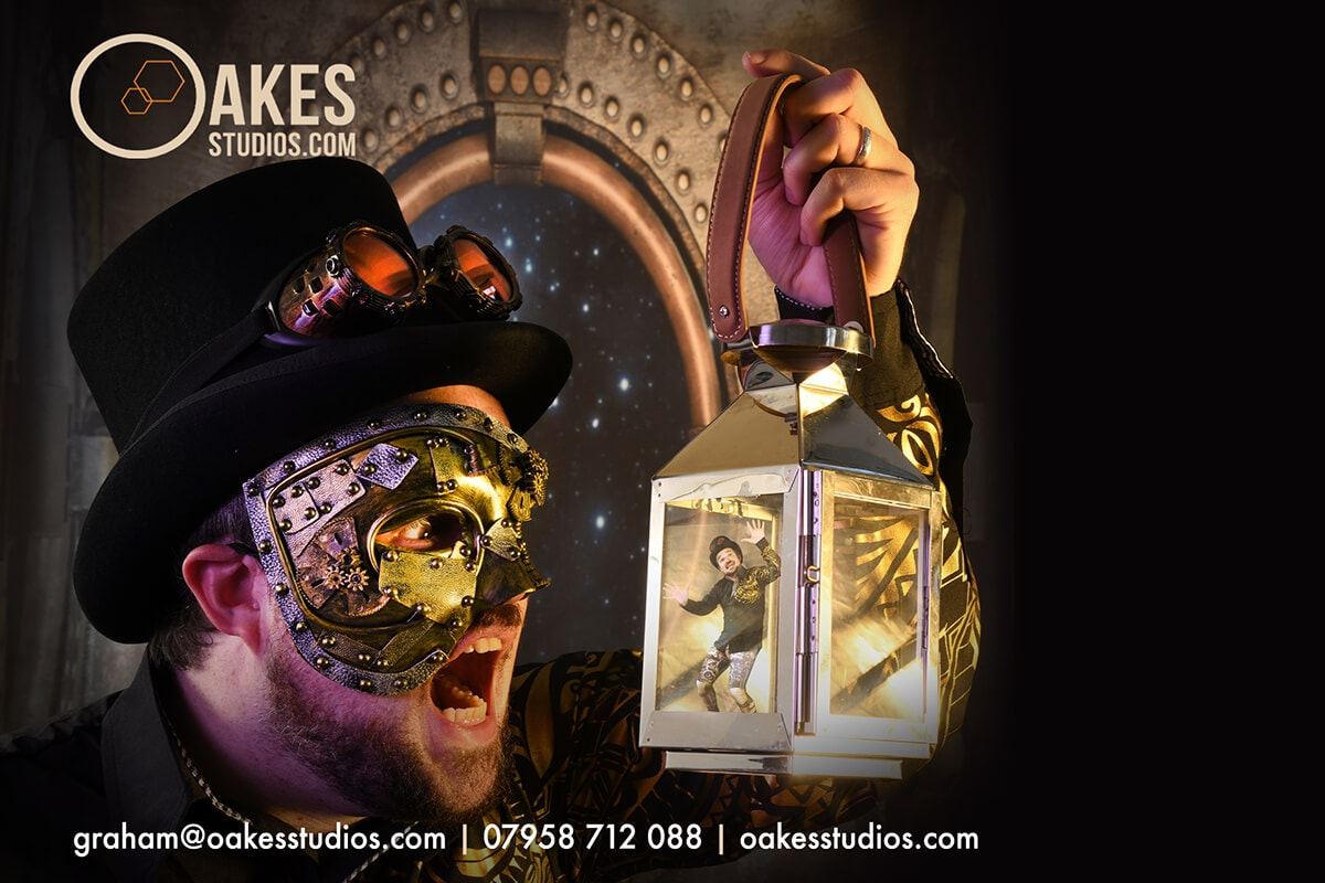 This was shot for an Actor & Director who wanted Something Different for his online profile - and we both like Steampunk - so i chipped in with a stunning backdrop and a couple of relevant accessories.